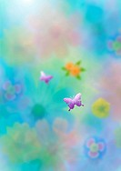 Blurred background of flowers and butterflies