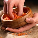Hands holding bowl of red lentils