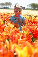 Girl in tulip field