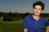 Young man on golf course