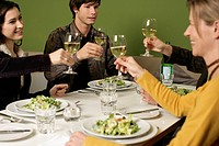 Group toasting with white wine during a dinner