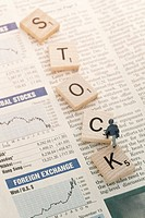 stock puzzle on stock newspaper