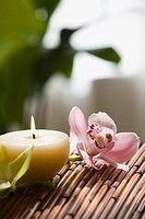 Orchid flowers and candle