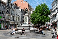Fountain on a square in Liege, Belgium