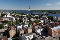 View over Riga and the Daugava River, Latvia, aerial view