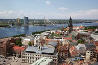 View over Riga with Daugava River and the Shroud Bridge, Latvia, aerial view