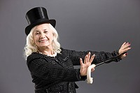 Senior woman with top hat and cane (thumbnail)
