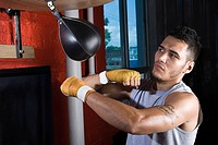 Boxer using punchbag