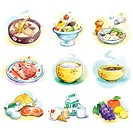 various foods expressning by illustration
