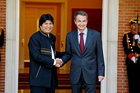 Prime Minister of Spain, Jose Luis Rodriguez Zapatero, receives in official visit the President of Bolivia, Evo Morales, in the Moncloa Palace, Madrid...