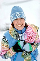 Women nordic walking in winter, portrait