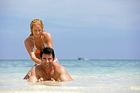 Couple in love enjoying holidays at tropical beach in Thailand Krabi