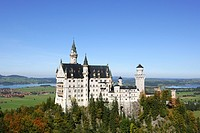 Schloss Neuschwanstein fairytale castle built by King Ludwig II near Fussen Bavaria Germany