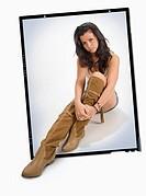 Slide 9x12 with brunette girl sitting on the floor.
