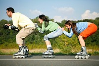 Young people on the go with rollerblades