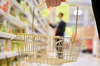 Shopper carrying small shopping basket, cropped
