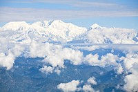 View of Kanchenjunga, Kangchendzonga range from Batasia Loop, Darjeeling, West Bengal, India, Asia