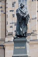 Statue of Martin Luther, Frauenkirche, Dresden, Saxony, Germany, Europe