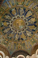 The mosaic ceiling of the 5th century Battistero Neoniano, UNESCO World Heritage Site, Ravenna, Emilia_Romagna, Italy, Europe
