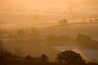 Farm bathed in golden morning sunlight on a frosty and misty winter morning, Raddon Hill, Devon, England, United Kingdom, Europe