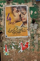 Bollywood movie poster on wall, Hospet, Karnataka, India, Asia