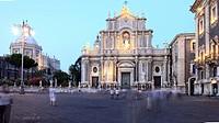 Piazza Duomo at dusk, Catania, Sicily, Italy, Europe