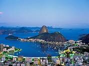 Brazil, Rio de Janeiro, Sugar Loaf and Guanabara Bay by night