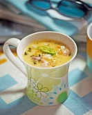 Sweetcorn and chicken soup with chilli