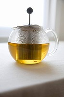 Chamomile Tea Steeping in Glass Pot