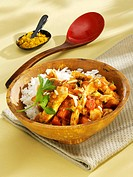 Turkey curry with almonds and rice