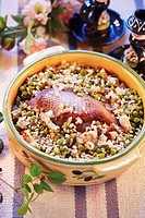 Goose with pearl barley and peas