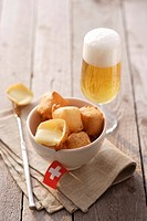 Fried cheese cubes Appenzeller with beer