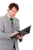 Geschäftsmann schreibt Notizen