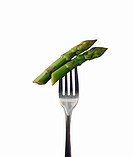 Two Asparagus Spears on a Fork
