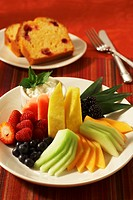 Fresh Fruit Plate , Cranberry Bread