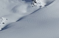 Switzerland, Valais, Verbier, snow, winter, ski, skiing, tracks, traces, curves, knows,