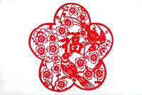 Pattern of Chinese Paper Cutting for Prosperity, Beijing, China