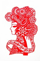 Chinese Paper Cutting art with Peking Opera facial pattern, Beijing, China
