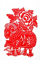 Paper Cutting piece with Chinese horoscope Sheep, Beijing, China