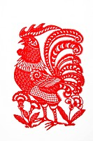 Paper Cutting piece with Chinese horoscope Rooster, Beijing, China