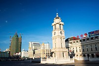 Clock tower in front of Beifang Market, Manzhouli, Hulunbuir City, Inner Mongolia Autonomous Region, China