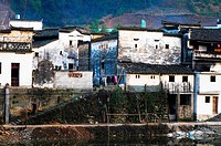 Traditional Hui style architecture on river side, Xiadan Village, Wuyuan County, Jiangxi Province, China