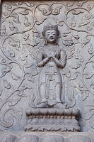 Marble screen wall carving of Buddha in Vajrasana Pagoda, Biyun Temple, Fragrant Hills, Beijing, China