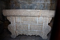 Marble offering table with exquisite carvings, Vajrasana Pagoda, Biyun Temple, Fragrant Hills, Beijing, China