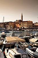 view of harbour in rovinj, croatia