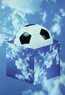 soccer ball, clouds
