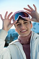 Young woman with ski shades
