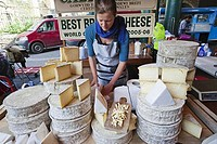 England, London, Southwark, Borough Market, Cheese Stall, Cheese Display