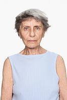 Serious elderly woman