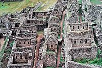 Detail, the ancient Inca city of Machu Picchu, 1987, Peru, South America